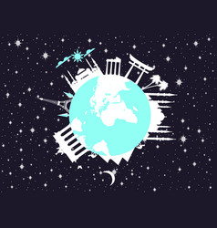 Planet earth in space world landmarks of vector