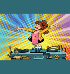 Girl dj club party youth lifestyle vector