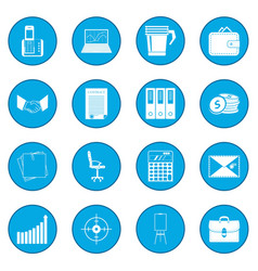 Business and office work icon blue vector