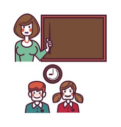 Teacher near blackboard and pupils above graphic vector