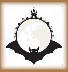 Halloween bat and moon vintage paper vector