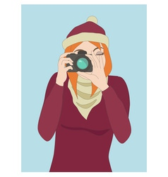 Photographer girl clicking on a cameras button vector