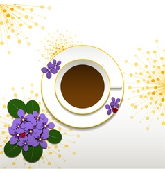 Springtime african violet and cup of coffee vector