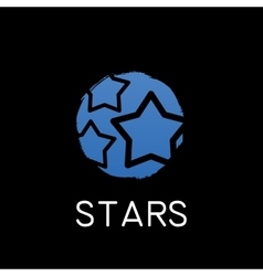 Blue stars icon on black background vector