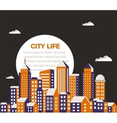 City building flat vector