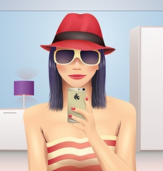 Girl taking self portrait in hat and sunglasses vector