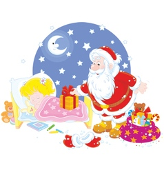 Santa with gifts for a child vector