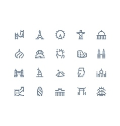 Landmarks icons line series vector