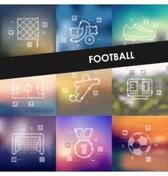 Football timeline infographics with blurred vector