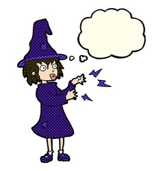 Cartoon witch casting spell with thought bubble vector