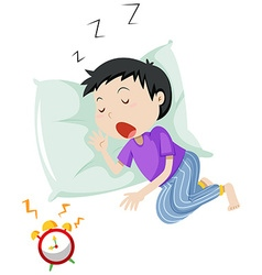 Boy sleeping on pillow vector