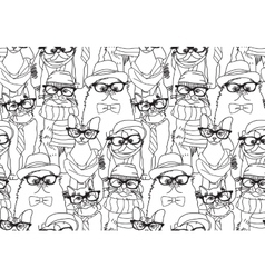 Cute cats group fashion hipster black seamless vector image