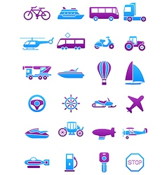Pink blue transport icons set vector