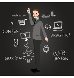 Teaching web design analytics branding and content vector