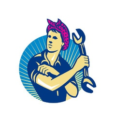 Female mechanic worker with spanner retro vector