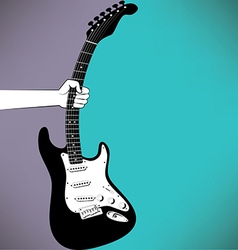 A hand grabs an electric guitar vector