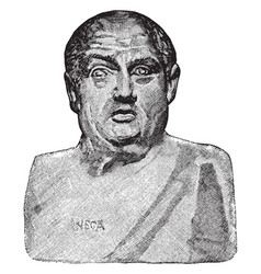Bust of seneca the elder vintage vector