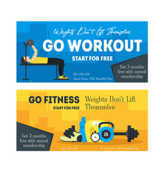 Cartoon fitness sport banner card horizontal set vector