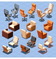 Chair and armchair isometric set vector image