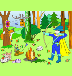 children color arrow in the forest with animals vector image vector image