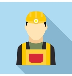 Coal miner icon in flat style vector
