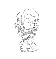 Cute baby angel making music playing lute vector image vector image