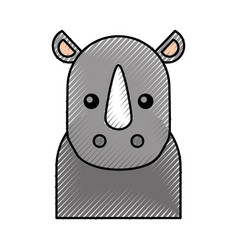 cute cartoon rhino baby animal wild vector image