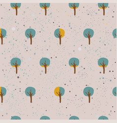 Cute spring pattern with funky small trees and vector
