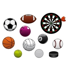 Dartboard hockey puck and sports balls vector image