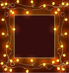 Festive frame with garlands Christmas decorations vector image