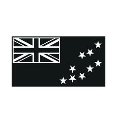Flag of Tuvalu monochrome on white background vector image vector image