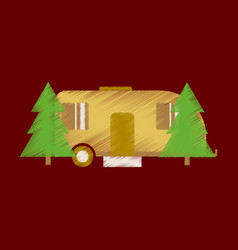 Flat icon in shading style trailer in forest vector