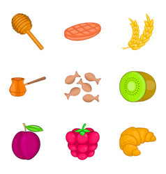 Fruit filling icons set cartoon style vector
