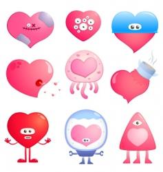 funny hearts vector image vector image
