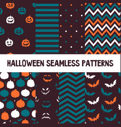 halloween seamless patterns endless vector image vector image
