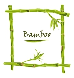 Hand-drawn green bamboo frame with space for text vector