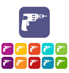 Hand drill icons set vector