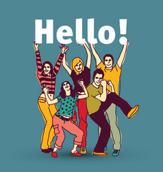 hello sign team group business people vector image