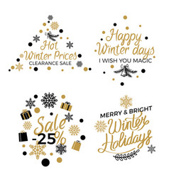 hot winter holiday price sales emblems on white vector image