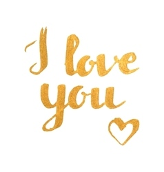 I love you golden inscription with heart vector image