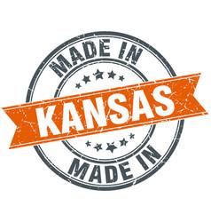 Kansas orange grunge ribbon stamp on white vector