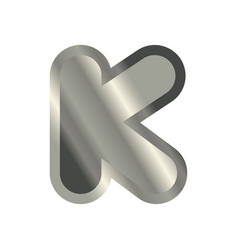Letter k steel font metal alphabet sign iron abc vector