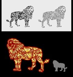 Lion floral ornament decoration vector image