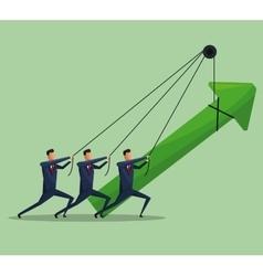 Men teamwork business growth arrow vector