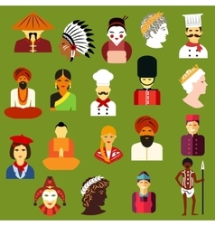 Multiethnic people flat avatars and icons vector