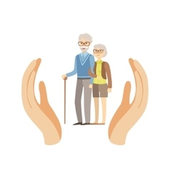 Old Couple Protected By Two Palms vector image
