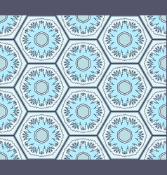Pale blue snowflakes in hexagons seamless pattern vector