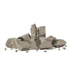 Pile of rock stone stones rocks in variuos sizes vector
