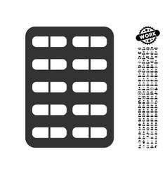 Pill blister icon with work bonus vector