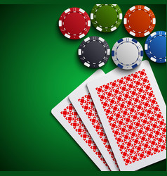 Poker chips with the cards on the table vector